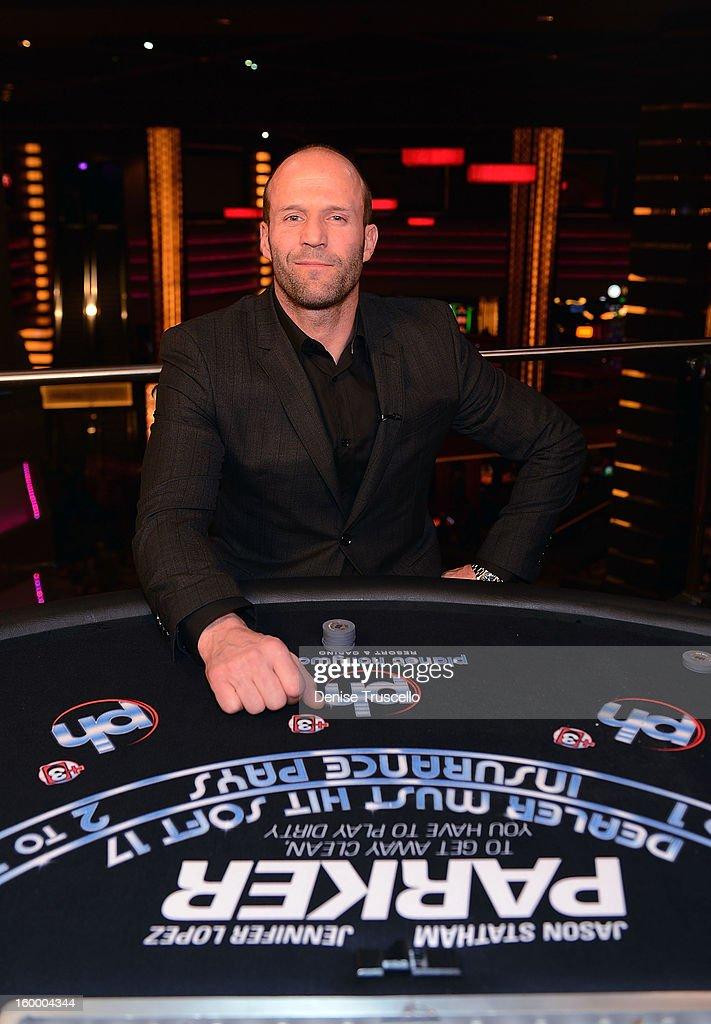 <a gi-track='captionPersonalityLinkClicked' href=/galleries/search?phrase=Jason+Statham&family=editorial&specificpeople=217567 ng-click='$event.stopPropagation()'>Jason Statham</a> during an interview at FilmDistrict's 'Parker' premiere at Planet Hollywood Resort & Casino on January 24, 2013 in Las Vegas, Nevada.
