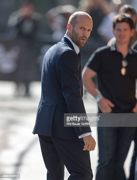 Jason Statham is seen at 'Jimmy Kimmel Live' on April 02 2015 in Los Angeles California