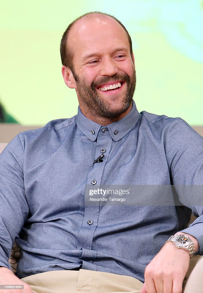 <a gi-track='captionPersonalityLinkClicked' href=/galleries/search?phrase=Jason+Statham&family=editorial&specificpeople=217567 ng-click='$event.stopPropagation()'>Jason Statham</a> is seen on the set of Despierta America at Univision Headquarters on January 18, 2013 in Miami, Florida.