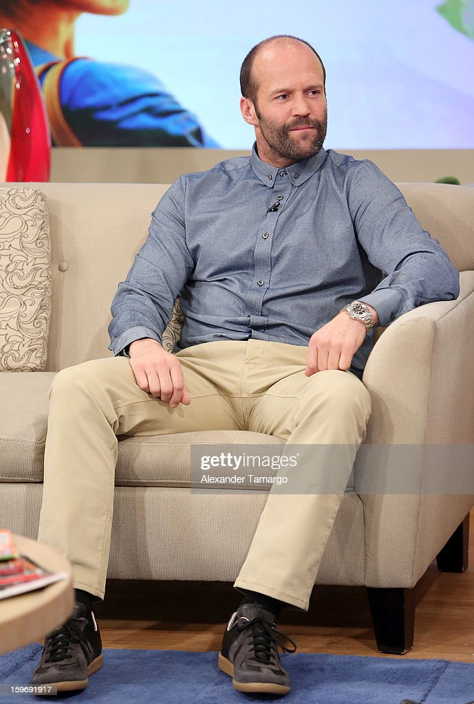 Jason Statham is seen on the set of Despierta America at Univision Headquarters on January 18, 2013 in Miami, Florida.