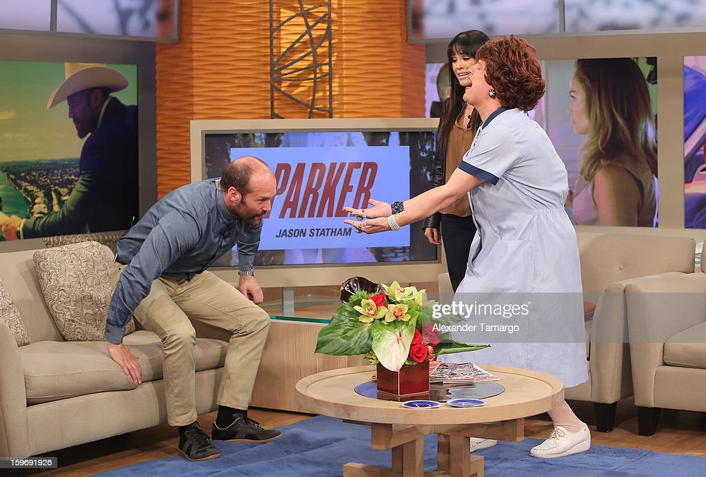 Jason Statham, Karla Martinez and Raul Gonzalez are seen on the set of Despierta America at Univision Headquarters on January 18, 2013 in Miami, Florida.