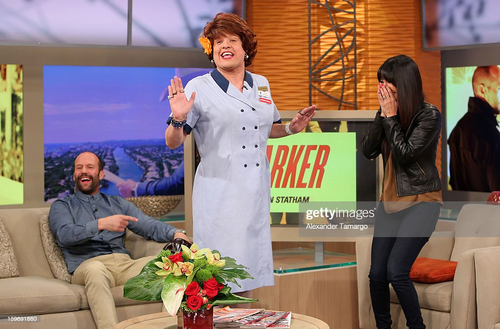 Jason Statham, Raul Gonzalez and Karla Martinez are seen on the set of Despierta America at Univision Headquarters on January 18, 2013 in Miami, Florida.