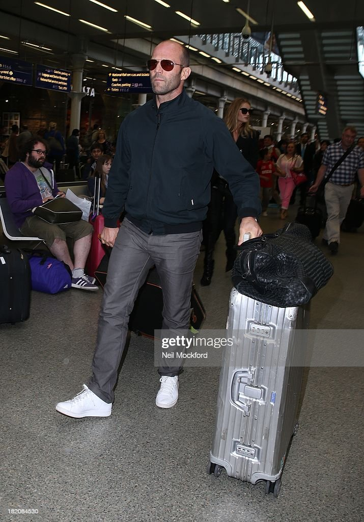<a gi-track='captionPersonalityLinkClicked' href=/galleries/search?phrase=Jason+Statham&family=editorial&specificpeople=217567 ng-click='$event.stopPropagation()'>Jason Statham</a> seen arriving at Eurostar King's Cross St Pancras on September 27, 2013 in London, England.