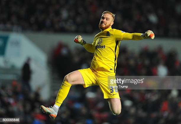 Jason Steele of Blackburn Rovers celebrates as Grant Hanley of Blackburn Rovers| scores his sides first goal during the Sky Bet Championship match...