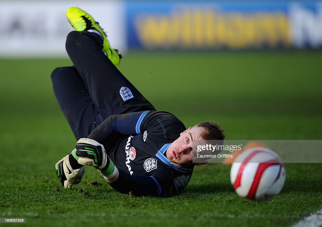 Jason Steele of England in action during a training session at St Georges Park on February 4, 2013 in Burton-upon-Trent, England.