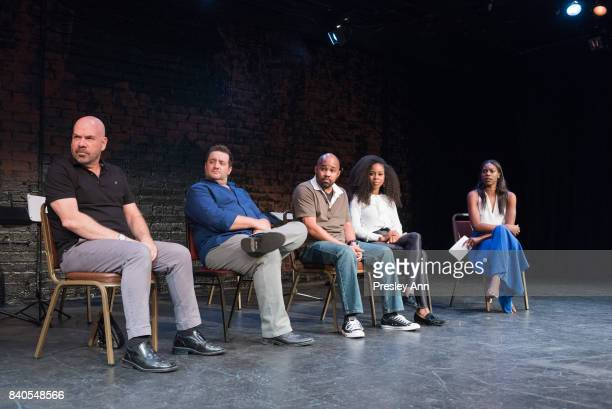 Jason StewartPeter Story Anthony Djuan Danielle Mone Truitt and Stacy Ike attend More Than A Hashtag at The Matrix Theatre on August 28 2017 in Los...