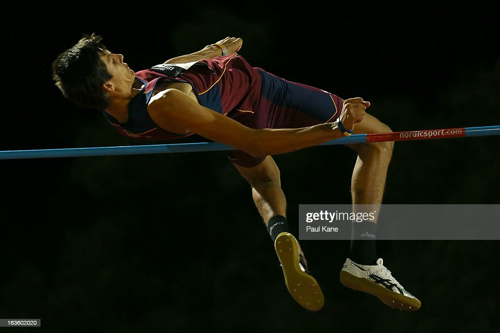 Jason Strano of Queensland competes in the men's u18 high jump during day two of the Australian Junior Championships at the WA Athletics Stadium on March 13, 2013 in Perth, Australia.