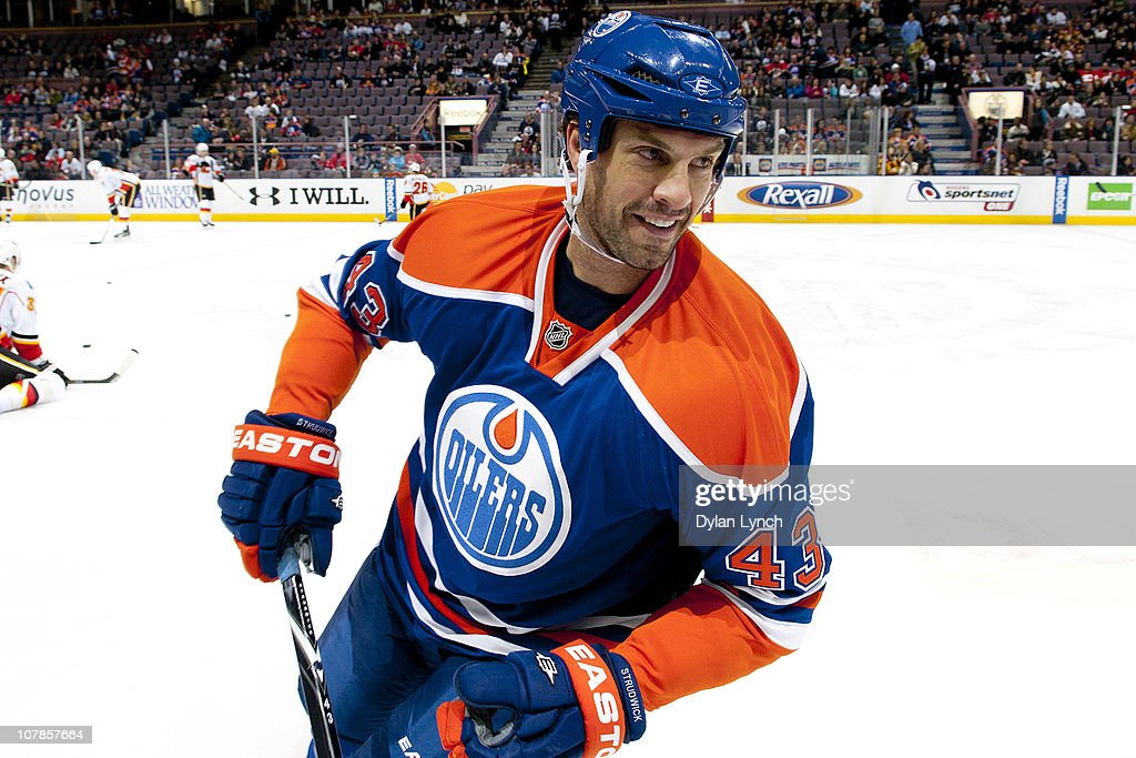 Jason Strudwick #43 of the Edmonton Oilers smiles during a warm-up drill before a game against the Calgary Flames at Rexall Place on January 1, 2011 in Edmonton, Alberta, Canada.