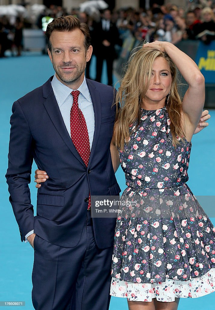 Jason Sudeikis and Jennifer Aniston attend the European premiere of 'We're The Millers' at Odeon West End on August 14, 2013 in London, England.