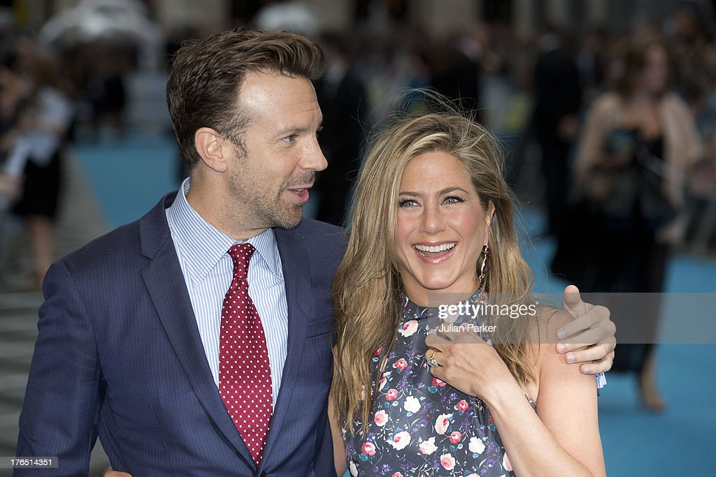 <a gi-track='captionPersonalityLinkClicked' href=/galleries/search?phrase=Jason+Sudeikis&family=editorial&specificpeople=4232997 ng-click='$event.stopPropagation()'>Jason Sudeikis</a> and <a gi-track='captionPersonalityLinkClicked' href=/galleries/search?phrase=Jennifer+Aniston&family=editorial&specificpeople=202048 ng-click='$event.stopPropagation()'>Jennifer Aniston</a> attend the European premiere of 'We're The Millers' at Odeon West End on August 14, 2013 in London, England.