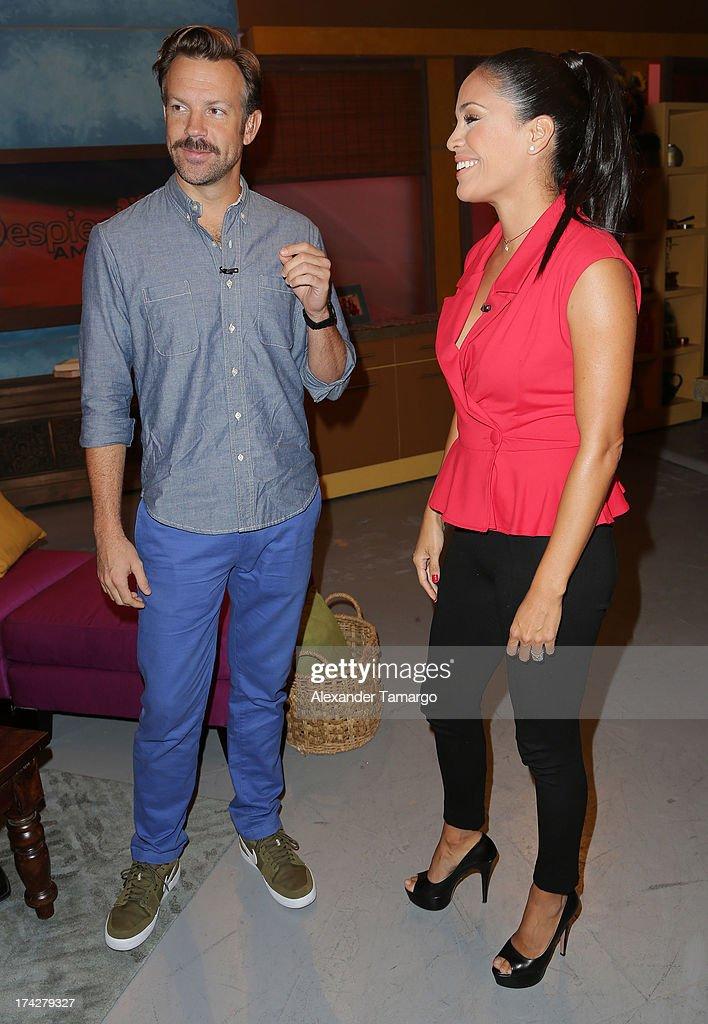 Jason Sudeikis and Karla Martinez visits Univisions Despierta America at Univision Headquarters on July 23, 2013 in Miami, Florida.