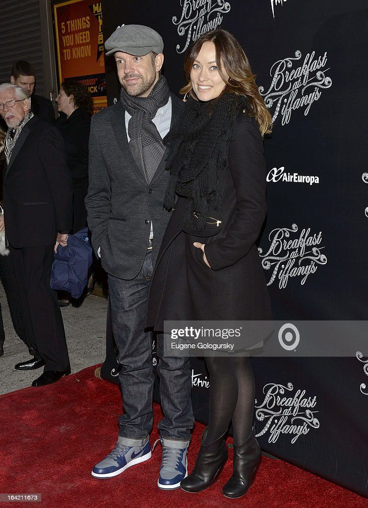 <a gi-track='captionPersonalityLinkClicked' href=/galleries/search?phrase=Jason+Sudeikis&family=editorial&specificpeople=4232997 ng-click='$event.stopPropagation()'>Jason Sudeikis</a> and Olivia WIlde attend 'Breakfast At Tiffany's' Broadway Opening Night at Cort Theatre on March 20, 2013 in New York City.