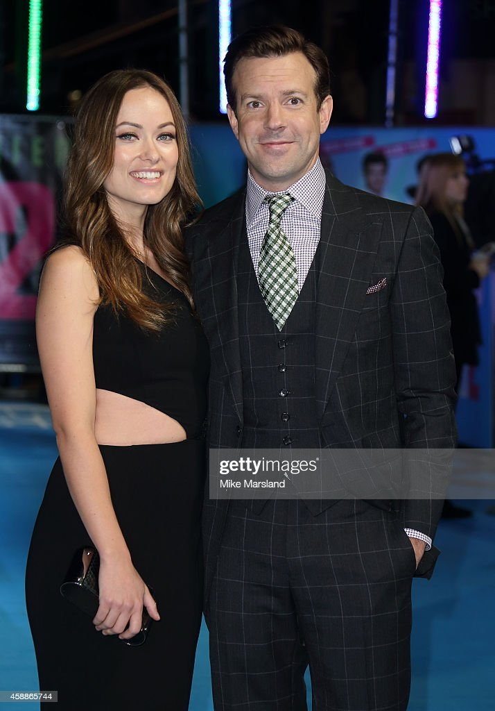 Jason Sudeikis and Olivia Wilde attend the UK Premiere of 'Horrible Bosses 2' at Odeon West End on November 12, 2014 in London, England.