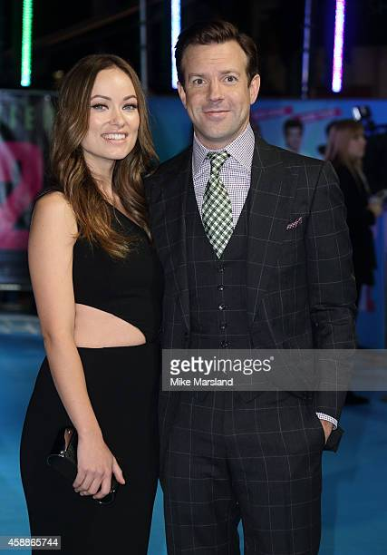 Jason Sudeikis and Olivia Wilde attend the UK Premiere of 'Horrible Bosses 2' at Odeon West End on November 12 2014 in London England