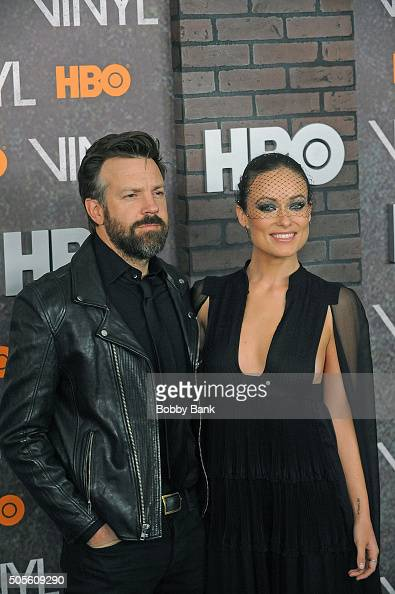 Jason Sudeikis and Olivia Wilde attends the 'Vinyl' New York Premiere at Ziegfeld Theatre on January 15 2016 in New York City