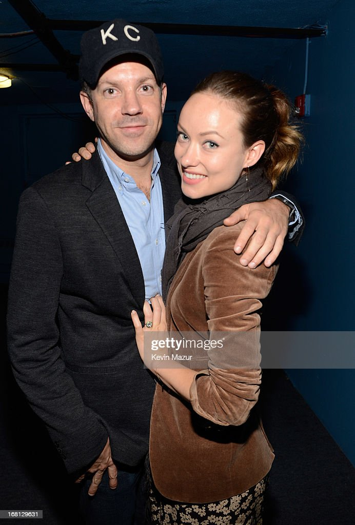 Jason Sudeikis and Olivia Wilde backstage after MasterCard Priceless Premieres presents Justin Timberlake exclusive New York performance at Roseland Ballroom on May 5, 2013 in New York City.