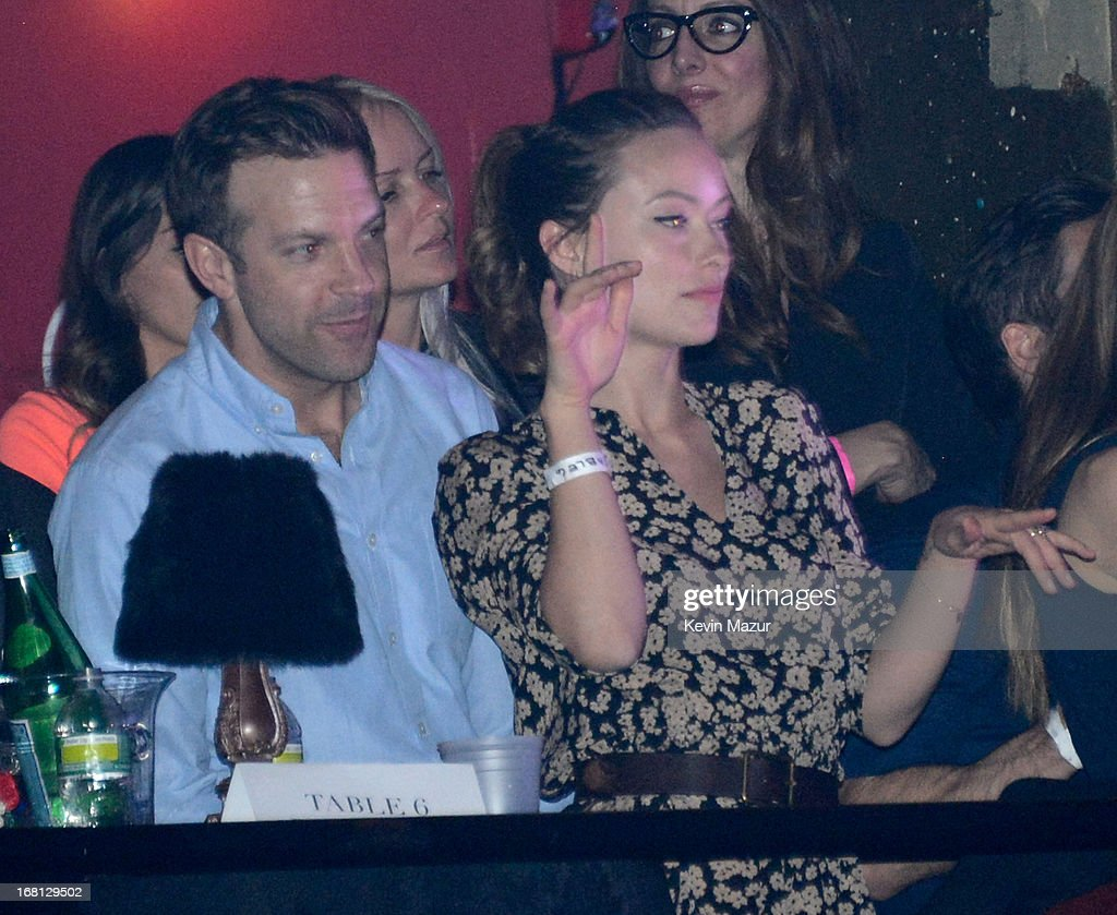 Jason Sudeikis and Olivia Wilde in the audience during MasterCard Priceless Premieres presents Justin Timberlake exclusive New York performance at Roseland Ballroom on May 5, 2013 in New York City.