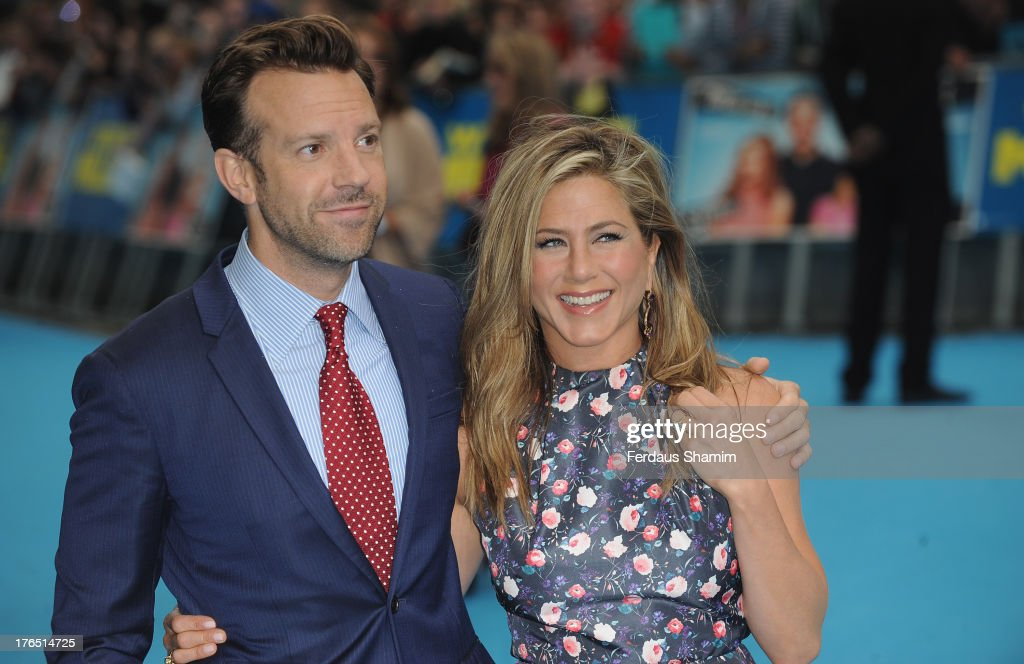 <a gi-track='captionPersonalityLinkClicked' href=/galleries/search?phrase=Jason+Sudeikis&family=editorial&specificpeople=4232997 ng-click='$event.stopPropagation()'>Jason Sudeikis</a> <a gi-track='captionPersonalityLinkClicked' href=/galleries/search?phrase=Jennifer+Aniston&family=editorial&specificpeople=202048 ng-click='$event.stopPropagation()'>Jennifer Aniston</a> attend the European premiere of 'We're The Millers' at Odeon West End on August 14, 2013 in London, England.