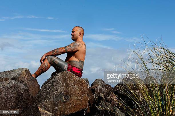Jason Suttie displays his pe'a a traditional Samoan tattoo during a photoshoot on September 04 2012 in Auckland New Zealand The pe'a covers the body...