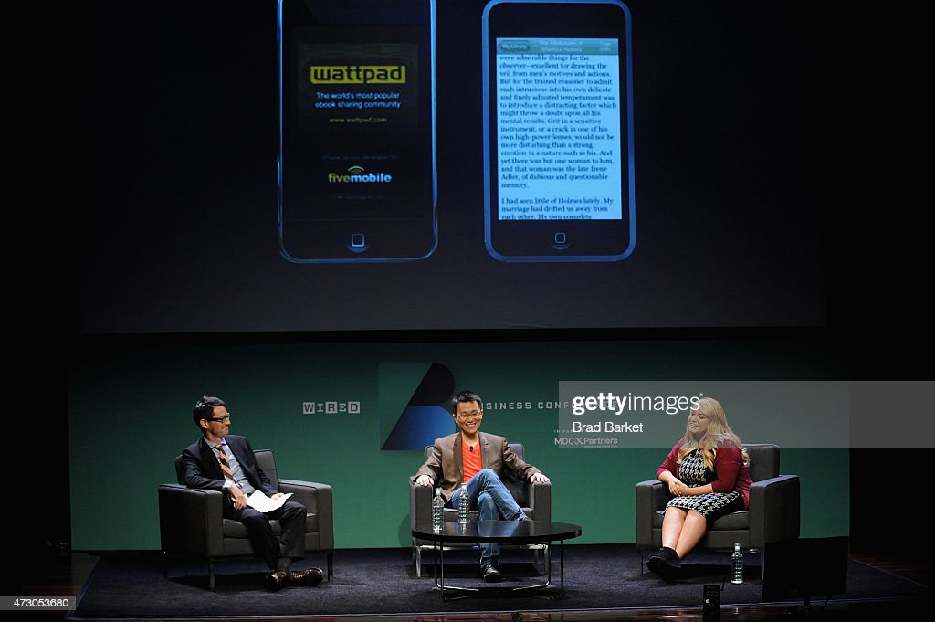 Jason Tanz, Editor at Large, WIRED interviews Allen Lau, Cofounder & CEO, Wattpad and Anna Todd, Author, After onstage at the WIRED Business Conference 2015 at Museum of Jewish Heritage on May 12, 2015 in New York City.