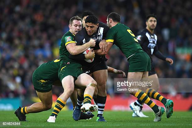 Jason Taumalolo of New Zealand is held up by the Australia defence during the Four Nations Final between New Zealand and Australia at Anfield on...
