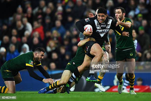 Jason Taumalolo of New Zealand makes a break during the Four Nations Final between New Zealand and Australia at Anfield on November 20 2016 in...