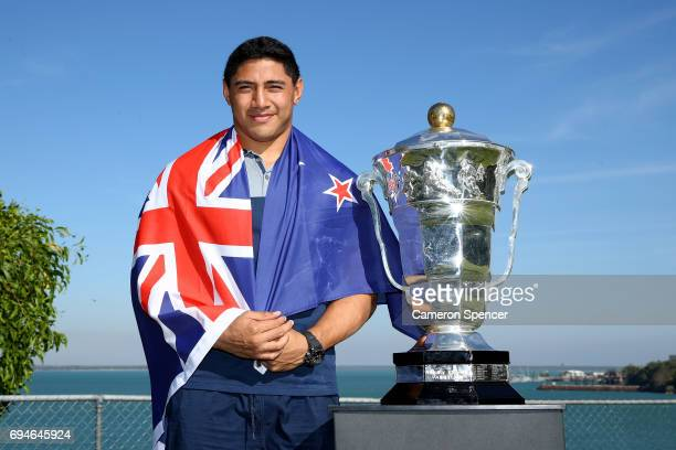 Jason Taumalolo of New Zealand poses with the Rugby League World Cup during a 2017 Rugby League World Cup Media Opportunity on June 11 2017 in Darwin...