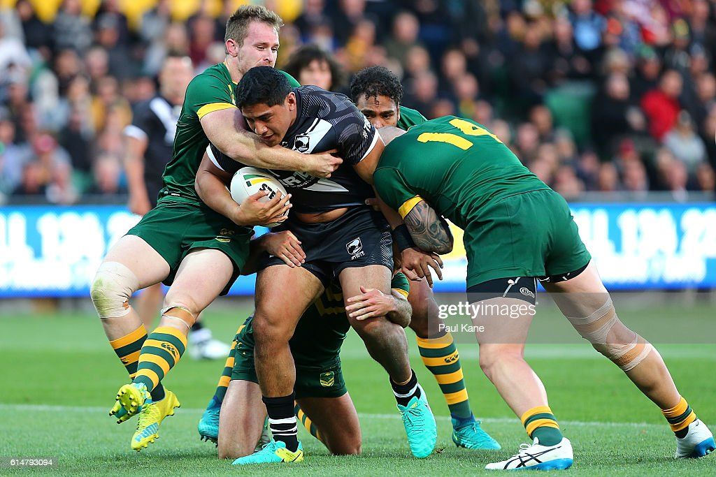Jason Taumalolo of New Zealand pushes forward during the International Rugby League Test match between the Australian Kangaroos and the New Zealand Kiwis at nib Stadium on October 15, 2016 in Perth, Australia.