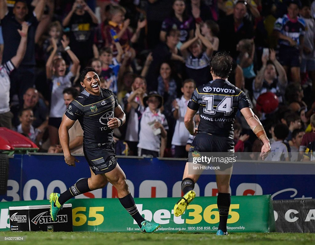 Jason Taumalolo of the Cowboys celebrates after scoring a try during the round 16 NRL match between the North Queensland Cowboys and the Manly Sea Eagles at 1300SMILES Stadium on June 27, 2016 in Townsville, Australia.