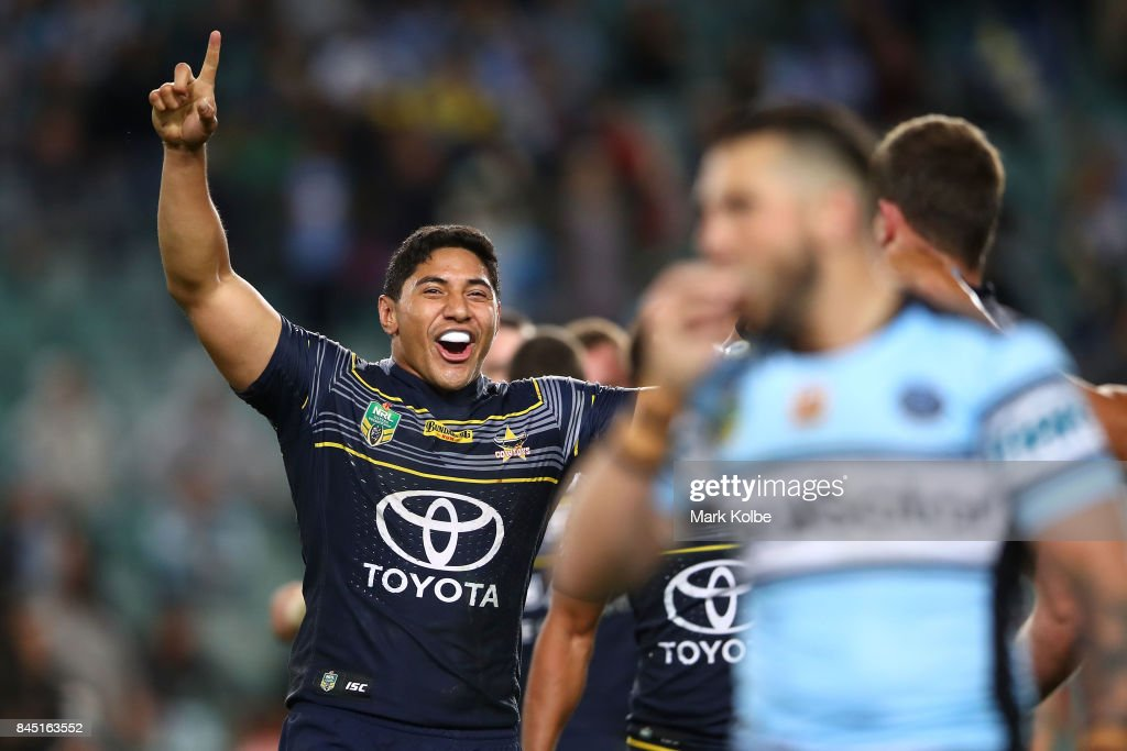 Jason Taumalolo of the Cowboys celebrates victory during the NRL Elimination Final match between the Cronulla Sharks and the North Queensland Cowboys at Allianz Stadium on September 10, 2017 in Sydney, Australia.