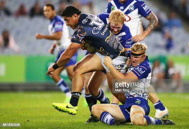 Jason Taumalolo of the Cowboys is tackled during the round 10 NRL match between the Canterbury Bulldogs and the North Queensland Cowboys at ANZ...