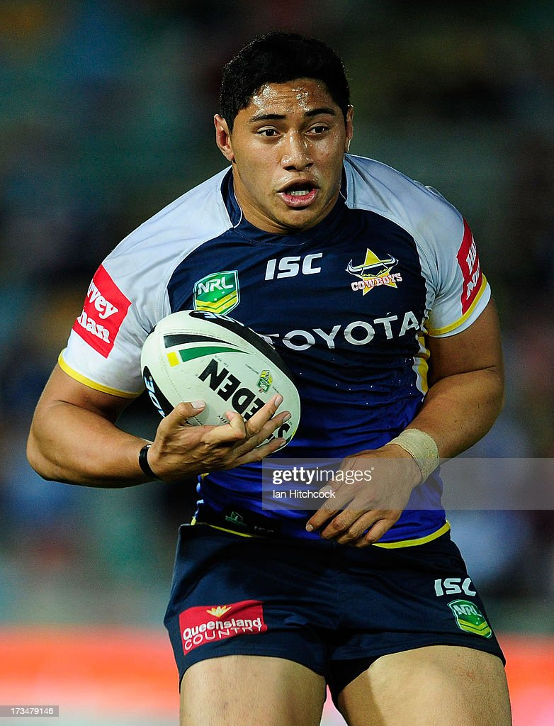 Jason Taumalolo of the Cowboys runs the ball during the round 18 NRL match between the North Queensland Cowboys and the Manly Sea Eagles at 1300SMILES Stadium on July 15, 2013 in Townsville, Australia.