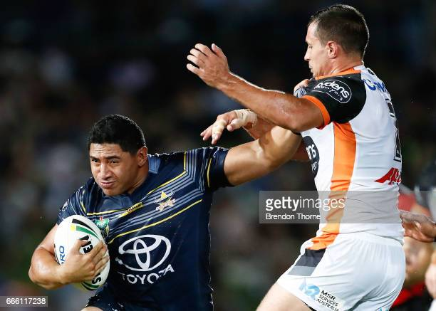 Jason Taumalolo of the Cowboys runs the ball during the round six NRL match between the North Queensland Cowboys and the Wests Tigers at 1300SMILES...