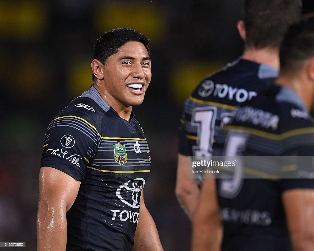 Jason Taumalolo of the Cowboys smiles after scoring a try during the round 16 NRL match between the North Queensland Cowboys and the Manly Sea Eagles at 1300SMILES Stadium on June 27, 2016 in Townsville, Australia.
