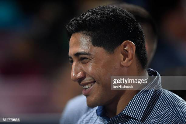 Jason Taumalolo of the Cowboys smiles from the sideline before the round three NRL match between the North Queensland Cowboys and the Manly Sea...