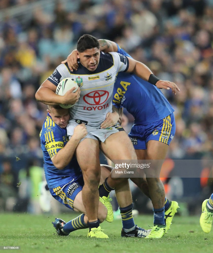 Jason Taumalolo of the Cowboys tackled by Nathan Brown of the Eels during the NRL Semi Final match between the Parramatta Eels and the North Queensland Cowboys at ANZ Stadium on September 16, 2017 in Sydney, Australia.