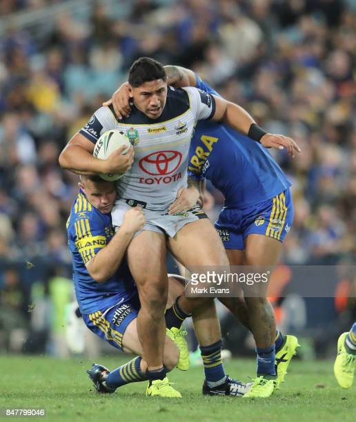 Jason Taumalolo of the Cowboys tackled by Nathan Brown of the Eels during the NRL Semi Final match between the Parramatta Eels and the North...
