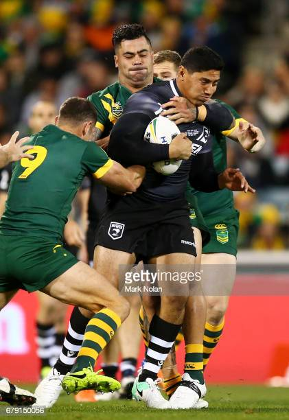 Jason Taumalolo of the Kiwis is tackled during the ANZAC Test match between the Australian Kangaroos and the New Zealand Kiwis at GIO Stadium on May...