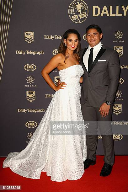 Jason Taumalolo of the North Queensland Cowboys and partner Liana Lariva arrive at the 2016 Dally M Awards at Star City on September 28 2016 in...