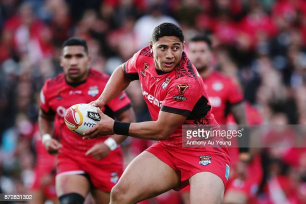 Jason Taumalolo of Tonga in action during the 2017 Rugby League World Cup match between the New Zealand Kiwis and Tonga at Waikato Stadium on...