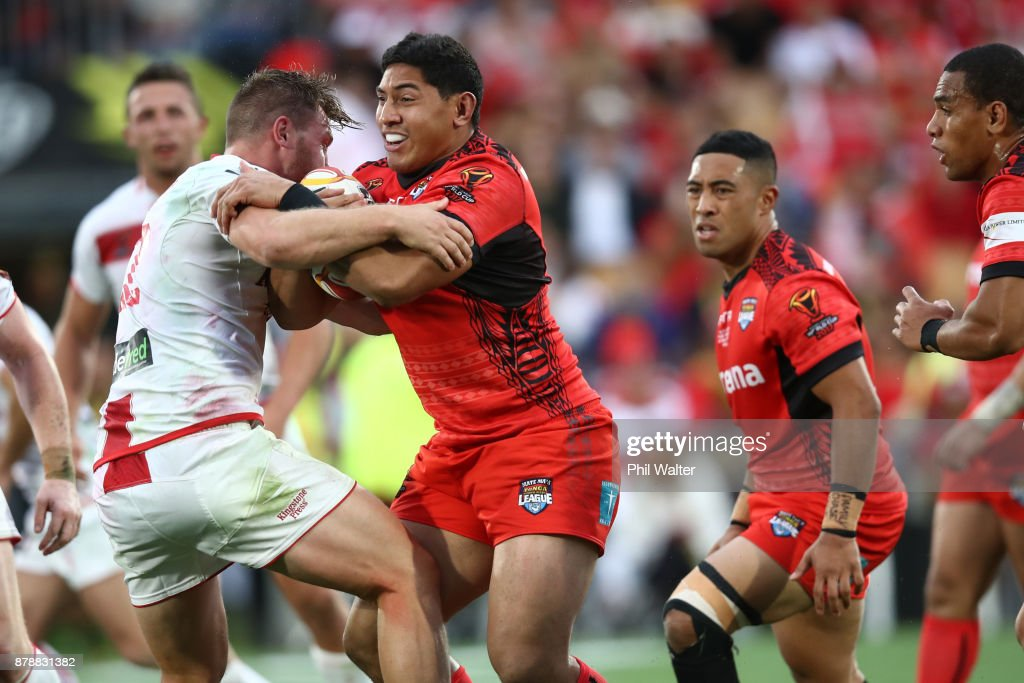 Jason Taumalolo of Tonga is tackled during the 2017 Rugby League World Cup Semi Final match between Tonga and England at Mt Smart Stadium on November 25, 2017 in Auckland, New Zealand.