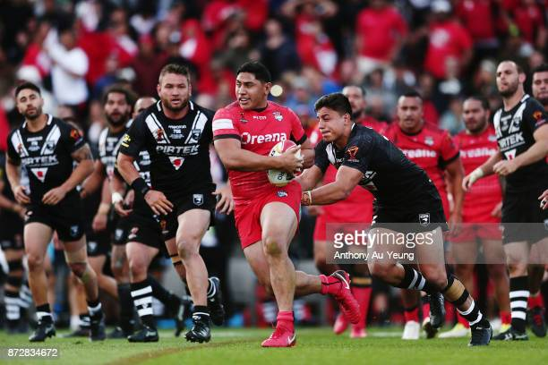 Jason Taumalolo of Tonga makes a run during the 2017 Rugby League World Cup match between the New Zealand Kiwis and Tonga at Waikato Stadium on...