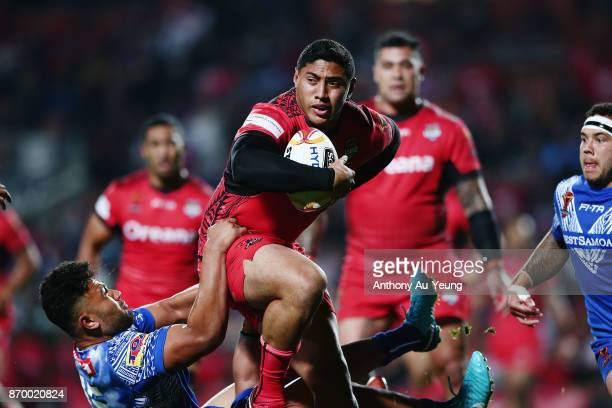 Jason Taumalolo of Tonga on the charge during the 2017 Rugby League World Cup match between Samoa and Tonga at Waikato Stadium on November 4 2017 in...