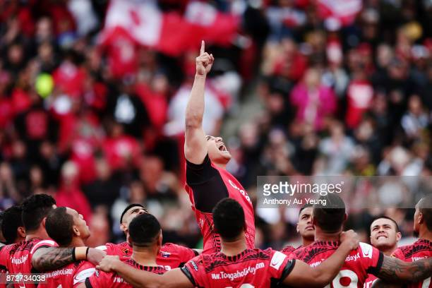 Jason Taumalolo of Tonga performs the Sipi Tau against the Kiwis during the 2017 Rugby League World Cup match between the New Zealand Kiwis and Tonga...