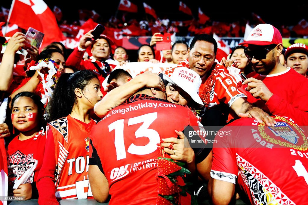 Jason Taumalolo of Tonga visits his family in the crowd after losing the 2017 Rugby League World Cup Semi Final match between Tonga and England at Mt Smart Stadium on November 25, 2017 in Auckland, New Zealand.
