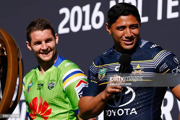 Jason Taumololo speaks as Jarrod Croker looks on during the 2016 NRL Finals series launch at Allianz Stadium on September 5 2016 in Sydney Australia