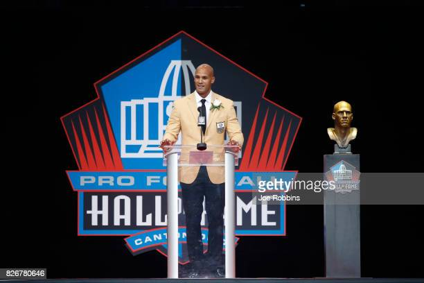 Jason Taylor speaks during the Pro Football Hall of Fame Enshrinement Ceremony at Tom Benson Hall of Fame Stadium on August 5 2017 in Canton Ohio
