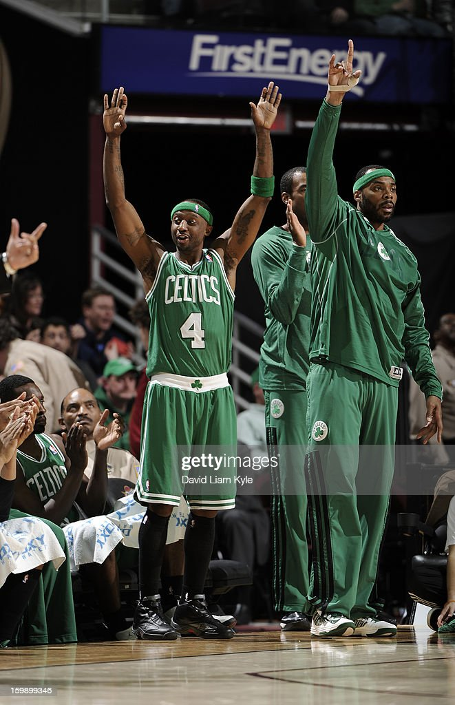 Jason Terry #4 and Chris Wilcox #44 of the Boston Celtics react from the bench after a teammate hit a three pointer as the quarter expired in the game against the Cleveland Cavaliers at The Quicken Loans Arena on January 22, 2013 in Cleveland, Ohio.