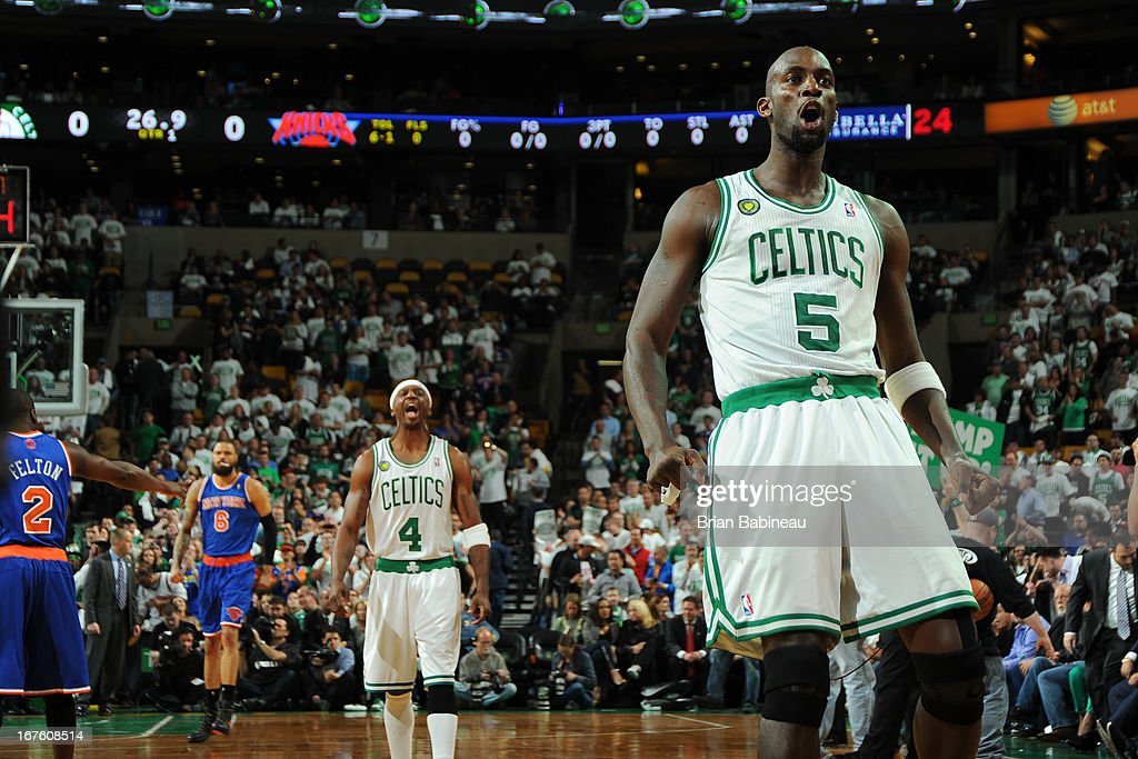 Jason Terry #4 and Kevin Garnett #5 of the Boston Celtics amp up the crowd against the New York Knicks during Game Three of the Eastern Conference Quarterfinals on April 26, 2013 at the TD Garden in Boston, Massachusetts.