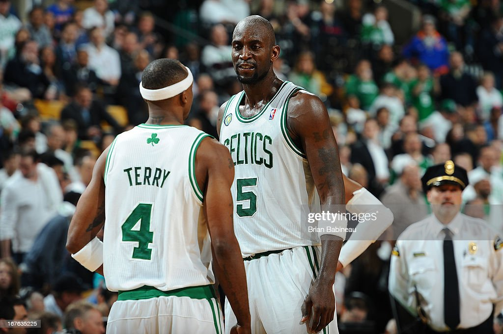 Jason Terry #4 and Kevin Garnett #5 of the Boston Celtics have a conference against the New York Knicks during Game Three of the Eastern Conference Quarterfinals on April 26, 2013 at the TD Garden in Boston, Massachusetts.